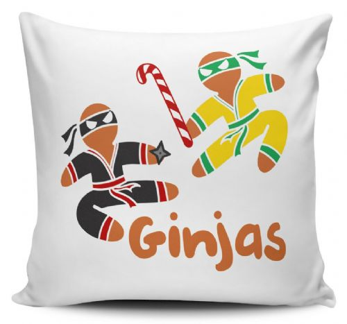 Ginjas Funny Christmas Gingerbread Man Novelty Cushion Cover